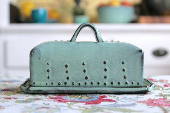 covered butter dish u2013 rustic aqua mist u2013 french country home decor u2013 made to order by