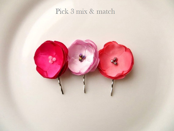 3 Floral Hairpins, Small Silk Flowers for Hair, Bridal Hair Pins, Pink Bridal, Coral Bridesmaid Hair Flowers, Satin Fabric Flower Bobby Pins by InspiredGreetingsAD