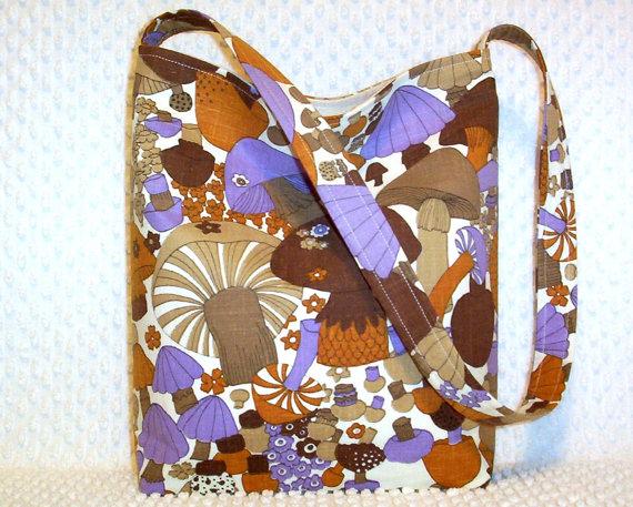 Vintage Mushroom Fabric Handbag – Shoulder Bag – Handmade Brown and Purple Retro Woodland Mushroom Hobo Bag Purse – Boho Chic – Gift for Her by BizzieLizzieHandmade
