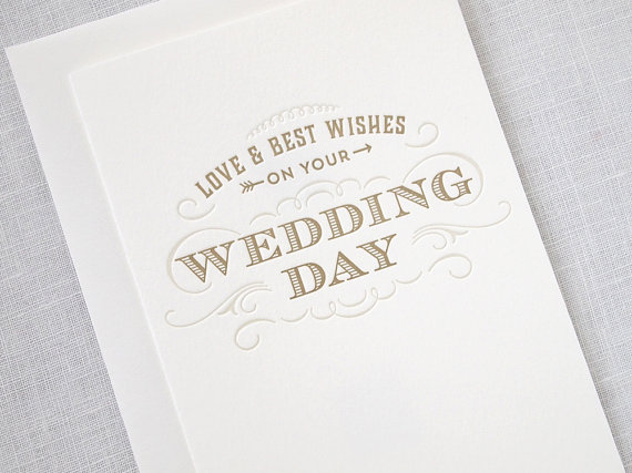 Letterpress Wedding Card Love And Best Wishes On Your Day By Missive