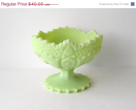 BIG SALE Fenton Glass Lime Sherbet Compote, Beautiful Pale Green Footed Bowl by Sugarcookielady