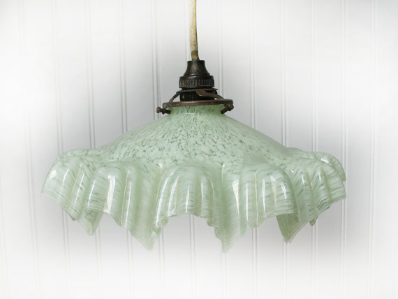 Beautiful Antique pale Green Opaline Glass Ceiling Light Lamp.Marbled Glass 1930s, green mint and white Opaline Light by FrenchMelody