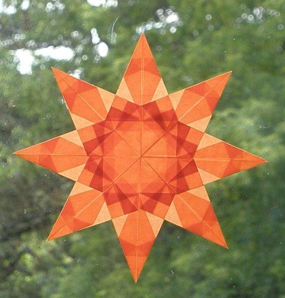 Vivid Orange Window Star Suncatcher by harvestmoonbyhand