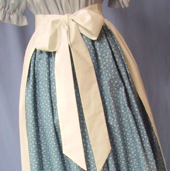 Pioneer Apron - Colonial Historical Costume - Frontier - Civil War Reenactment - Handmade Cotton Muslin by stitchintimedesigns