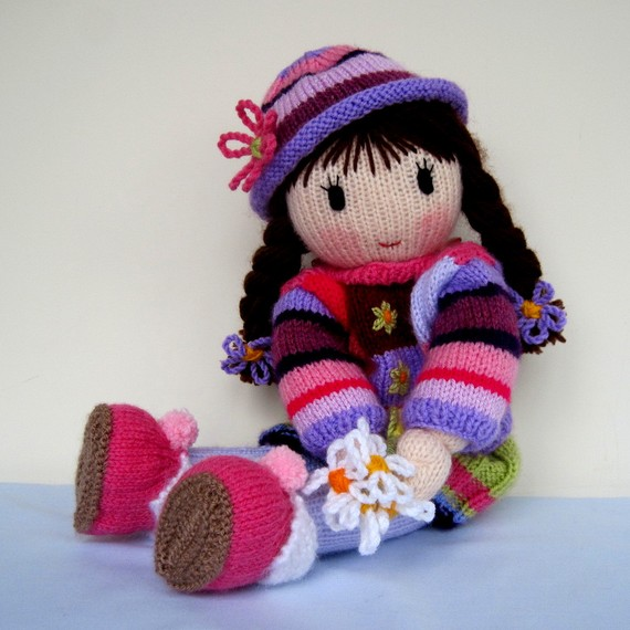 Posy Doll - PDF knitting pattern - INSTANT DOWNLOAD by dollytime