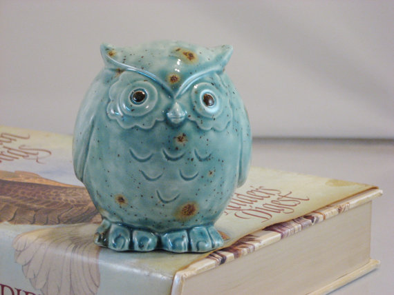 Green / Blue Teal Owl figurine collectible ceramics hand painted home decoration. The great horned owl. by CreativityHappens