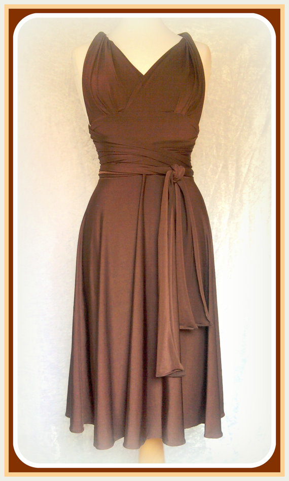 Bridesmaids dress in chocolate Maternity dress Brown wrap dress Convertible / Infinity Dress by Linaline
