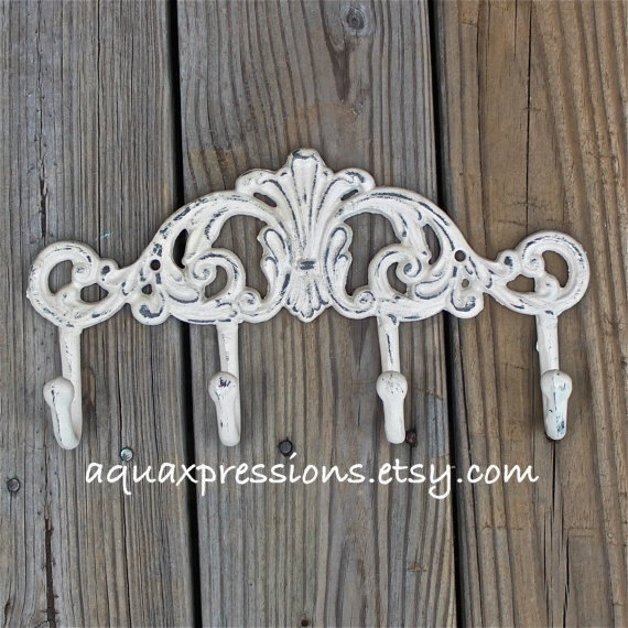 Metal Wall Hook / Ivory / Bright Shabby Chic Decor / Ornate Hanger / Key Holder / Bathroom Fixture / Bedroom / Laundry / Nursery by AquaXpressions