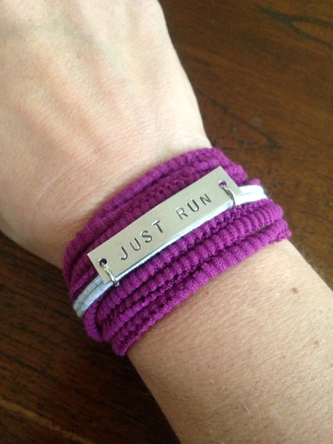 Running Motivation Bracelet – JUST RUN – With Stretchy Wrap / Cuff by wordstosweatby