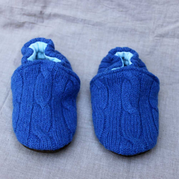Blue Cableknit Wool Kids Slippers Leather Bottom size 3-4 years old made from recycled materials by littlefriendsco