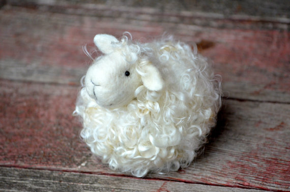 DIY Kit - Sheep - Needle Felting Kit - Lamb Craft Kit - make your own felted miniature by BearCreekDesign