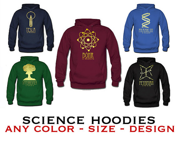 Science Hoodie Sweatshirt – Rock Star Scientist Sweater, Geeky Sweat Shirt, Hooded Pullover Shirt SML Xl Xxl by meganlee