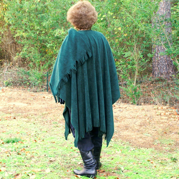 Hunter Green Anti Pill Fleece Wrap, Shawl, Cape or Poncho With Fringe - One Size Fits Most by youngbear