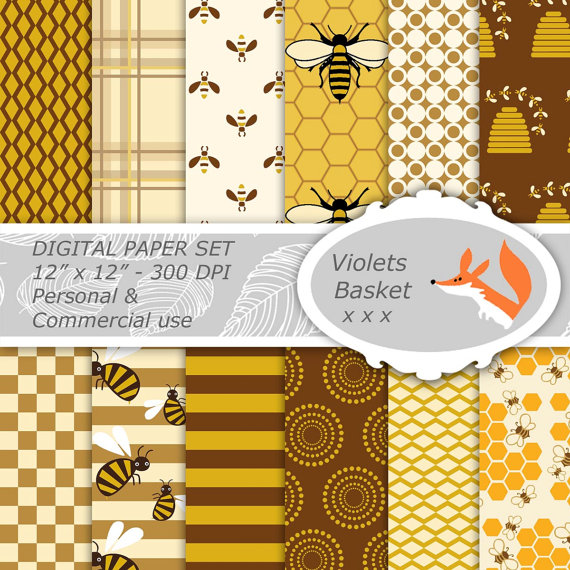 Digital Scrapbooking Paper - instant download - Personal and Commercial Use - woodland brown gold yellow bees beehive honey by violetsbasket