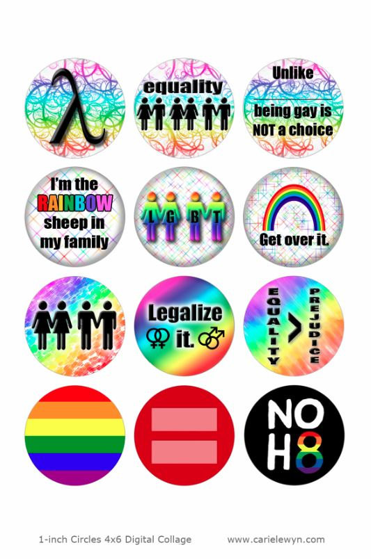 Gay Pride Ver2 Bottlecap Images / LGBT QIA, Gender Equality, Homosexual Love, Legalize It / Rainbow Printable Collage 1-Inch / Donation by carielewyn