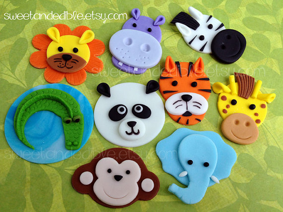 JUNGLE or SAFARI Edible Cupcake Toppers - CHOOSE any 6 by SWEETandEDIBLE