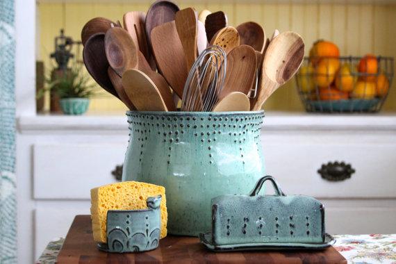 Extra Large Kitchen Utensil Holder – Aqua Mist – Hand Thrown Vase – Modern Home Decor – MADE TO ORDER by BackBayPottery