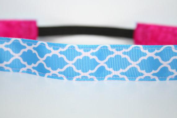 Blue Quatrefoil No Slip Headband by LishyBand