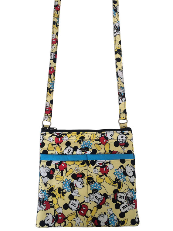 Mickey Mouse and Minnie Mouse Crossbody Bag // Sling Bag // Classic Disney Crossbody Purse by sewtrendyrose