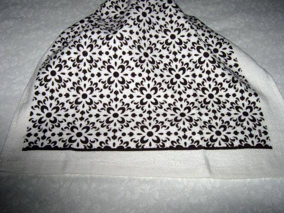 Crochet hanging towel, monotone dk brown floral design, dk brown top by mishap1165