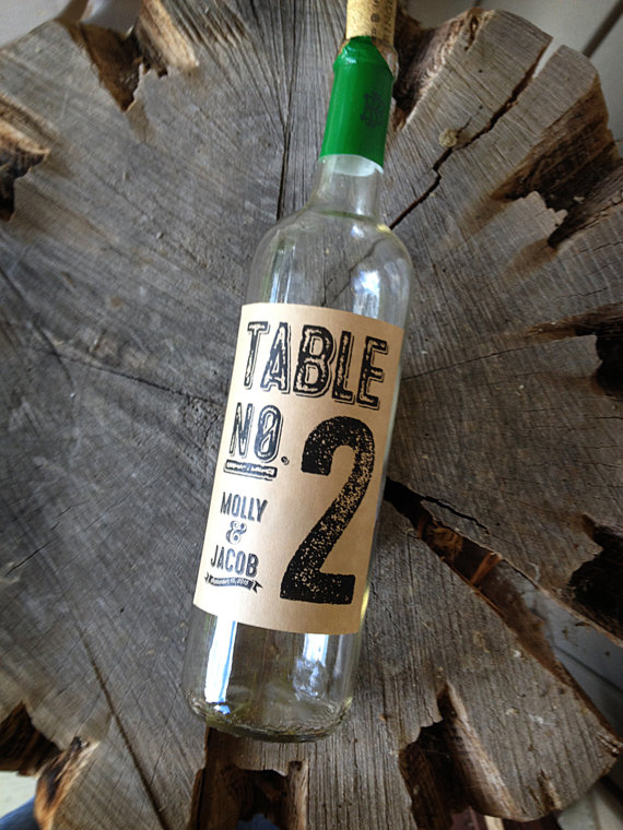 Rustic Style Table Number Labels for Wine Bottles - Wedding Wine Labels - Brown Bag Wine Labels - Kraft Country Style Table Numbers by DesignCircus