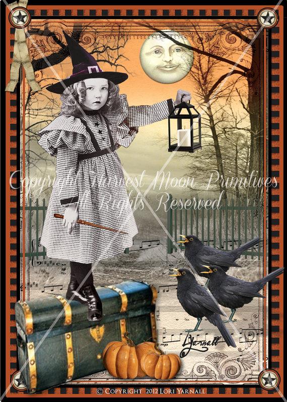 VINTAGE STYLE Halloween Postcards – Moonlight Sonata by HarvestMoonEmporium