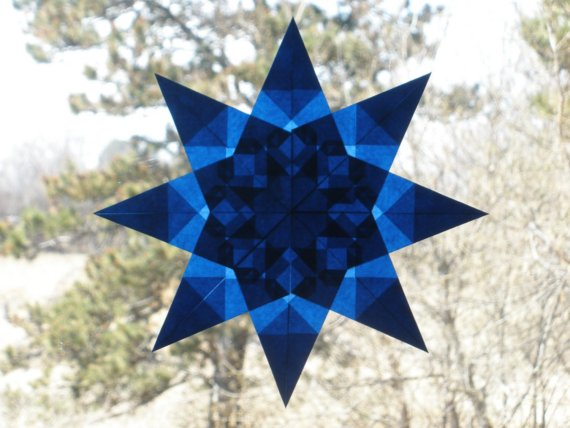 8-Pointed Blue Waldorf Inspired Window Star Suncatcher by harvestmoonbyhand