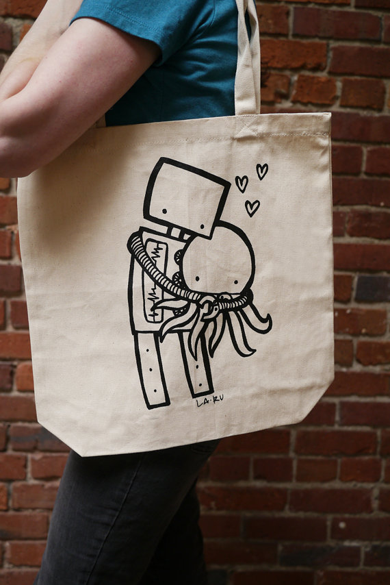 Robot Hugging Octopus Tote Bag by LaRu