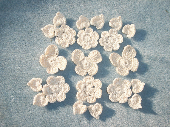 cream crochet applique flowers, leaves and butterflies - 1658 by CraneCrochet
