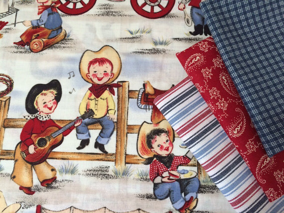 Lil cowpokes fat quarter bundle – four pieces of fabric by itsgottogo