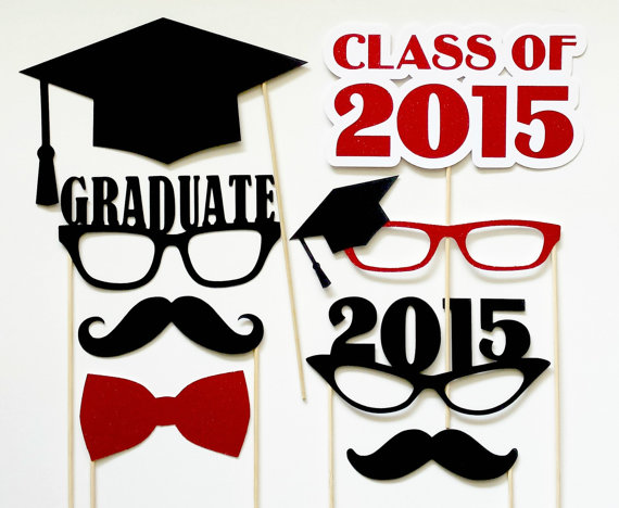 Graduation Photo Booth Props. Set of 8. Customized Colors. Class of 2015 by PiccadillyPartyCo