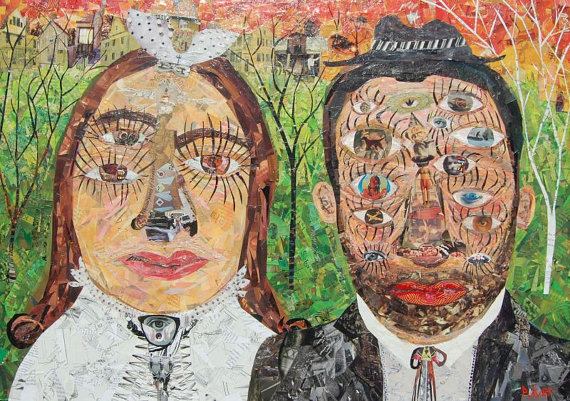 Large Original Collage Art - the Bride and Groom - Wedding Outsider Folk Art Painting - Abstract Eyes by 3crows
