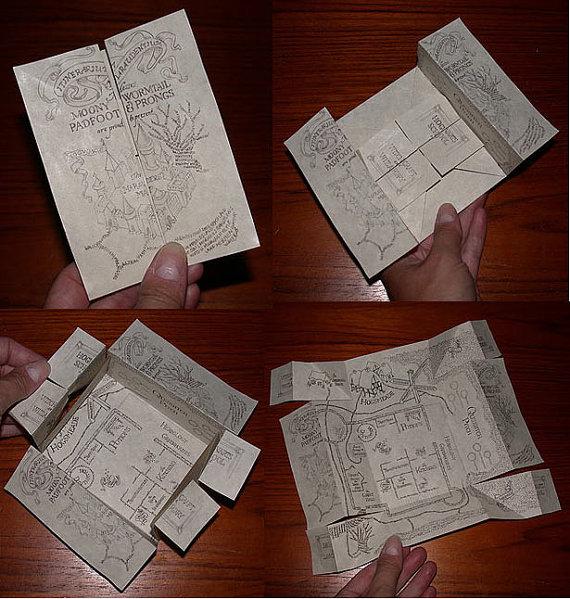 Original Artwork Wizard Marauders Map Hand-folded on Parchment by BrittaBlvd