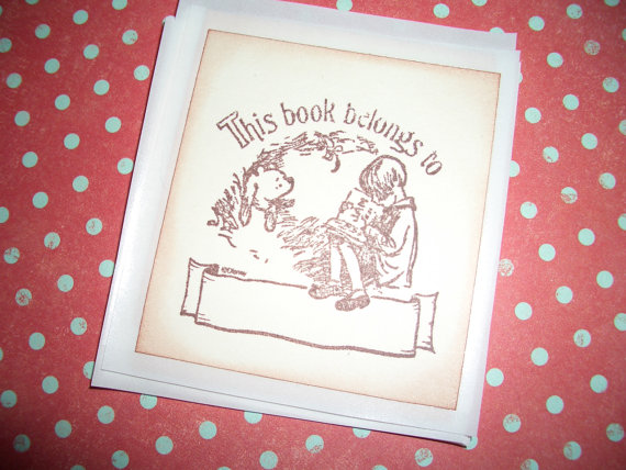 Bookplates -Winnie the Pooh and Christopher Robin Reading - This book belongs to - Stickers Seals - Cute - Set of Six - by tinkerbellshop