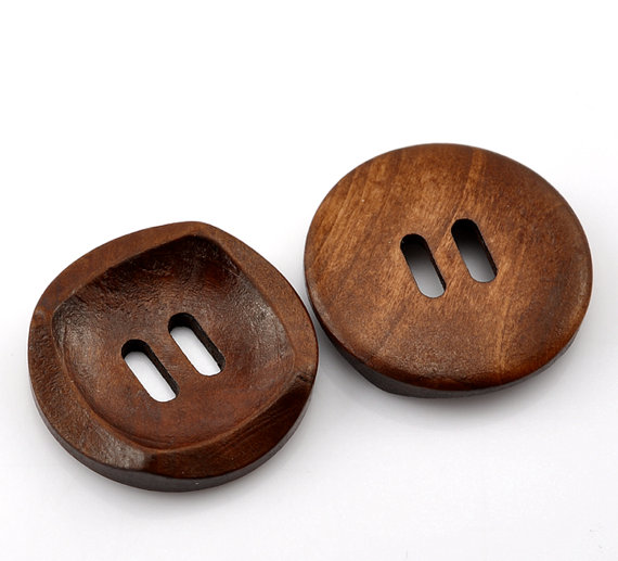 10 Round With Square Detail Concaved Wood Button Two HoleCoffee Colour 30mm (1 1/8 & quot;) – 10 Pack PWB02 by SkullButtonry