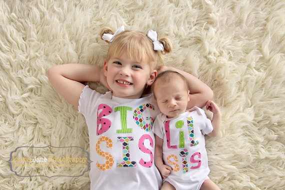 Big Sister Little Brother Little Sister Big Brother sibling shirts onesies set gift baby shower photo prop Patches and Puppies by PatchesandPuppies