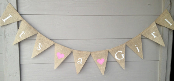 It's a Girl Burlap Banner – Baby Shower Banner, It's a Girl, Gender reveal by IsabooDesigns