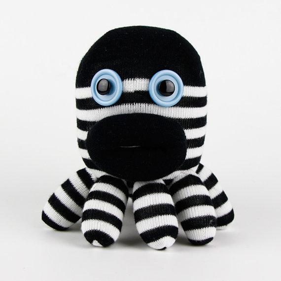 Handmade Sock Octopus Paul Stuffed Animal Doll Baby Toys by supersockmonkeys