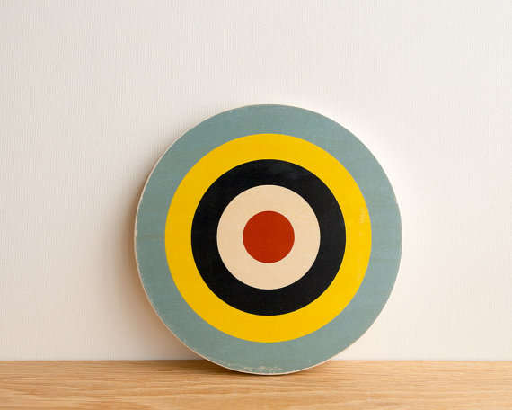 Target Circle Art Block - Blue / Yellow / Navy / White / Red - archery target, bull's eye, vintage look, colorway # 11 by StudioLiscious