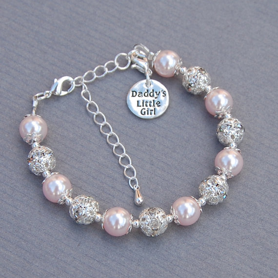 Daddys Little Girl Charm Bracelet, Girls Jewelry, Daddy Daughter Pearl Bracelet by AMIdesigns
