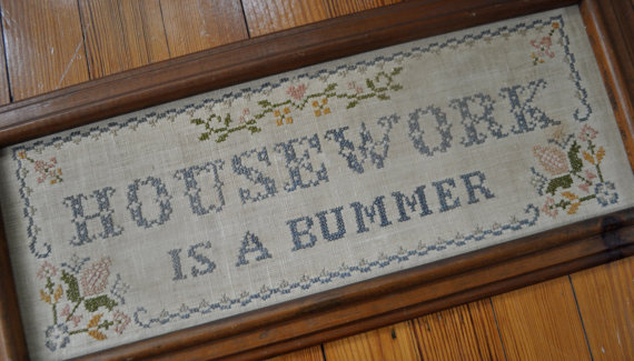 Housework Is A Bummer / Vintage 1980s / Cross Stitch Wall Hanging / Quote Picture by carohope