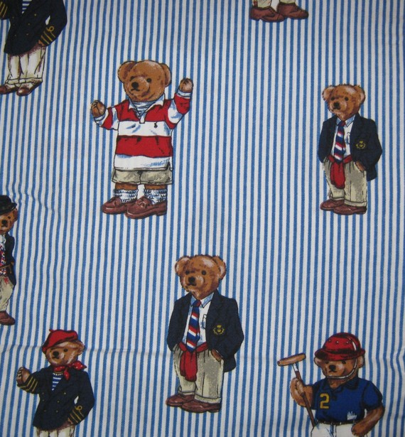 Ralph Lauren Polo TEDDY BEARS twin flat bed sheet reclaimed linens by LuckyCarolDesigns
