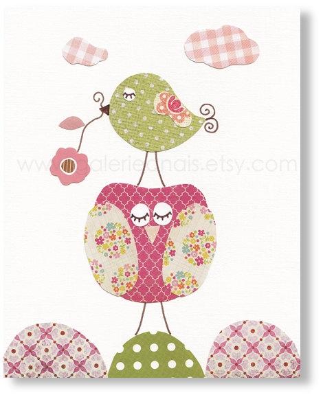 Baby Girl Nursery Decor Bird nursery Owl nursery art kids decor pink and green nursery wall art Kids art Chic And Shabby by GalerieAnais