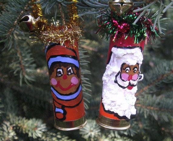 Shotgun Shell Ornaments – African American Santa – Latino Santa – Shotgun Shell Santa Ornament – Shotgun Shell Elf Ornament – NS2 by CarriesCraftStore