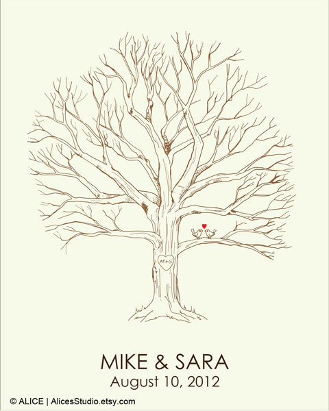 Canvas Wedding Tree Guest Book - Hand Drawn Fingerprint Tree Print - Thumbprint Guestbook - Free Gift with Purchase by AlicesStudio