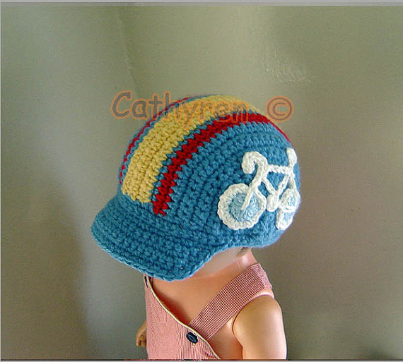 Bike Cap, Cycling Hat with Applique, Baby - Preteen, INSTANT DOWNLOAD Crochet Pattern by CathyrenDesigns