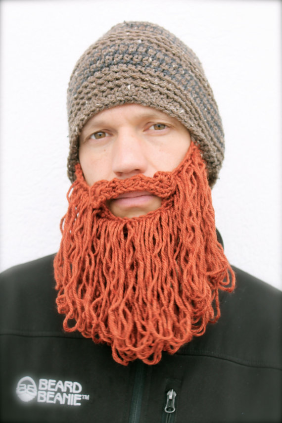 long beard hat mens crochet hat The Original Beard Beanie ™ shaggy - brown tweed striped with red beard by taraduff