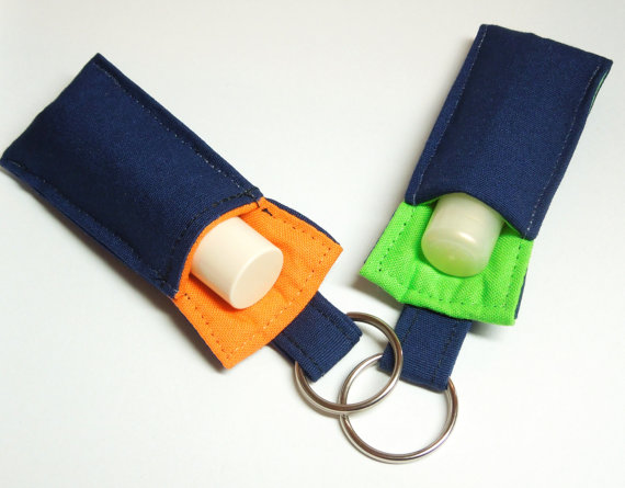 keychain Chapstick Holder, Lip Balm keychain, Broncos Key chain, Seahawks Key chain; for teacher, school color theme, blue orange, lime green by thameowdesigns