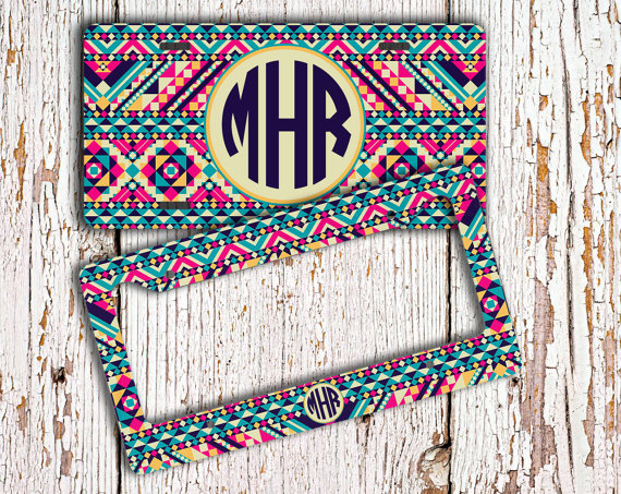 monogrammed license plate frame bridesmaid gift idea personalized car tag tribal vanity plate cute aztec bicycle license plate 1261 by togildthelily - Monogram License Plate Frame
