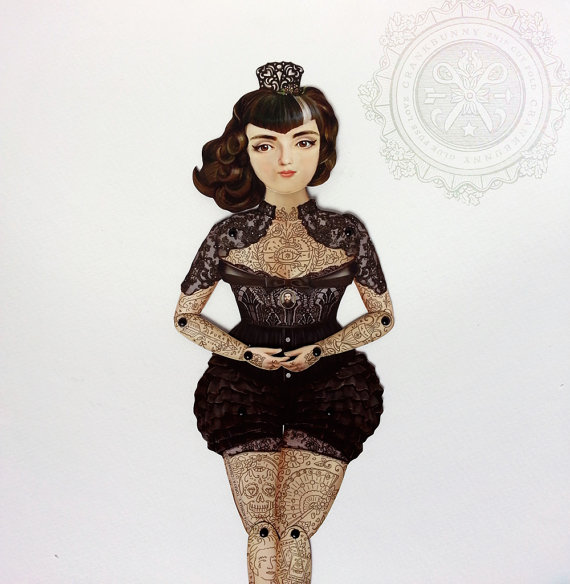 Victorian Tattooed Paper Doll Puppet – Dona Alicia, A Gothic Spanish Widow who is a huge Smiths, Morrissey fan. Unique paper art gift item by crankbunny